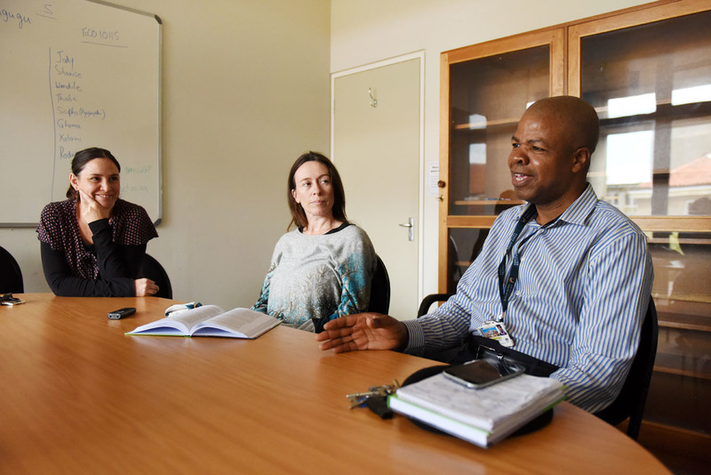 [From left] Dr Shannon Morreira, Dr Ellen Hurst and Associate Professor Mbulungeni Madiba propose translanguaging as a means of bringing students' multilingual resources into the classroom.