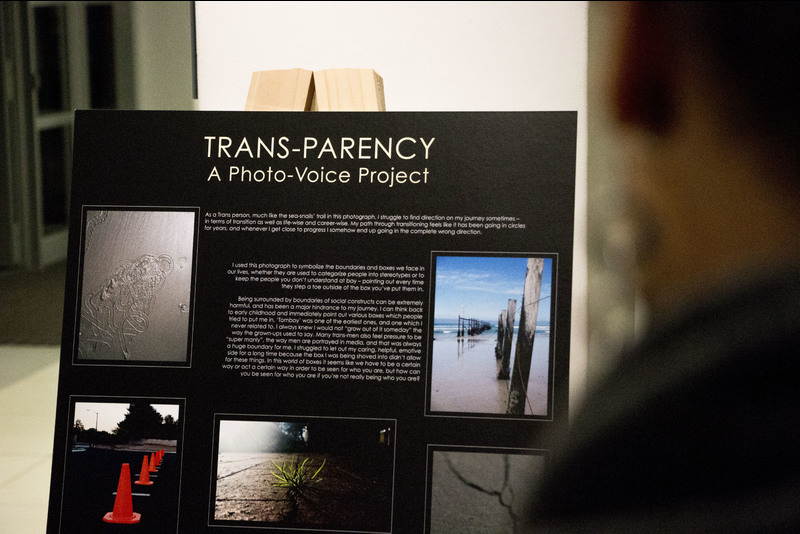 "The project culminated in an exhibition, which took place in the UCT psychology department on 1 June, where participants displayed their photo stories, thereby taking ownership of their own narratives.<br/><br/>[Text above reads] ""As a Trans person, much like the sea-snails' trail in this photograph, I struggle to find direction on my journey sometimes – in terms of transition as well as life-wise and career-wise. My path through transitioning feels like it has been going in circles for years, and whenever I get close to progress I somehow end up going in the complete wrong direction."""