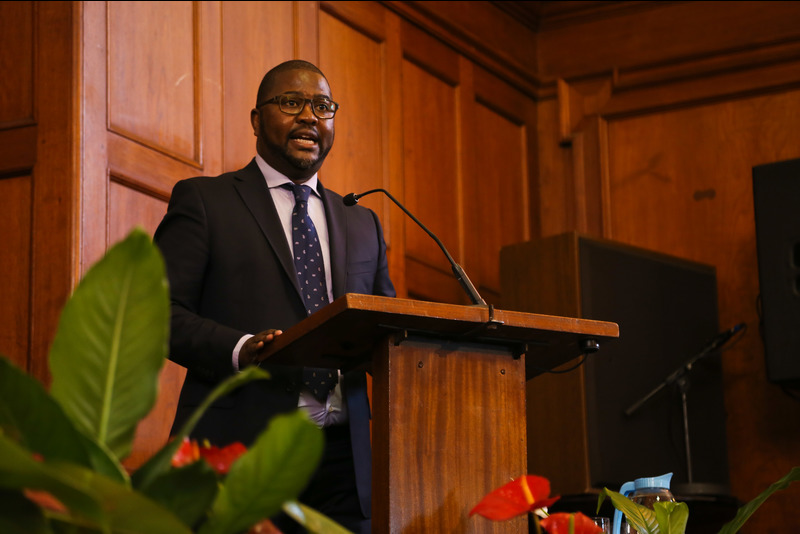 Entrepreneur turned banker Ciko Thomas encouraged GSB graduates to lead with authenticity and humility, at the afternoon ceremony of 14 July.