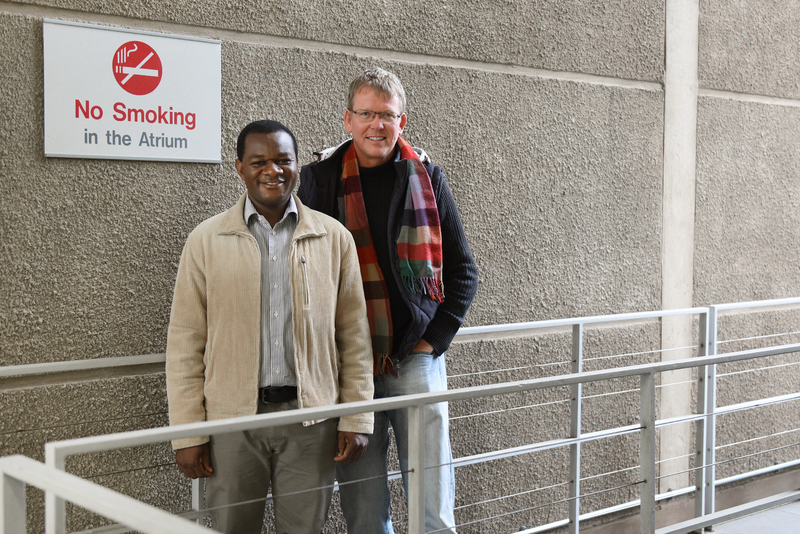 Postdoctoral research fellow Ernest Ngeh Tingum and Prof Corné van Walbeek will work on a new project on tobacco-related harm in Africa and Asia.