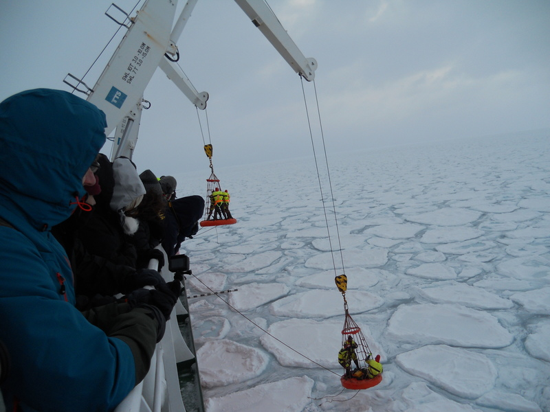 Deployment of trackers onto pancake ice.