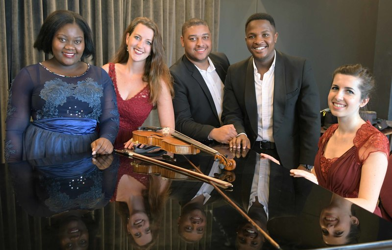 SACM students Masabane Cecilia Rangwanasha (soprano), Tessa Campbell (violin), Darryn Kenned (bass baritone), Kabelo Lebyane (bass baritone) and Alice Clegg (piano) will take to the stage with the Cape Town Philharmonic Orchestra on Saturday, 2 September. Jacobus de Jager (not pictured) will perform on piano.