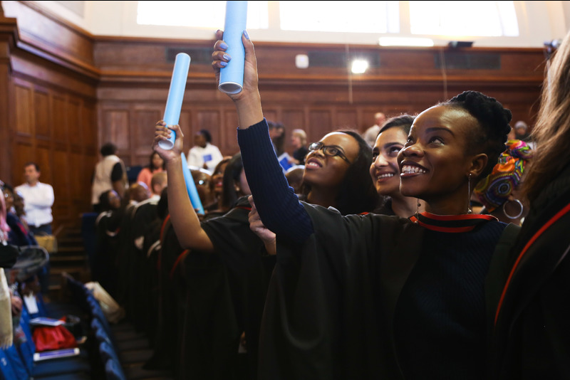 Students celebrate their achievements at the first of the ceremonies held during the May 2017 graduation season.