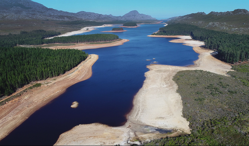The Steenbras Dam in April this year – already showing the devastating effects of the ongoing drought. Photo Michael Hammond.