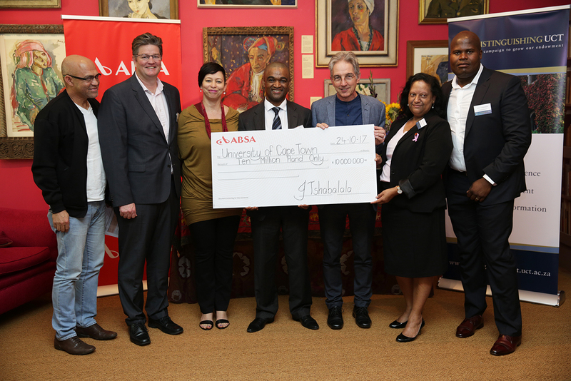 Representatives from Absa handed over a R10 million cheque to UCT executives on 24 October. From left: Dr Russell Ally, ED Development and Alumni Department; Clinton Clarke, head of SA coastal regions, Absa Corporate and Investment Banking; DVC Prof Loretta Feris; Bonisile Magewu, corporate banker, Absa Corporate and Investment Banking; VC Dr Max Price; Anastasia Peters, citizenship manager for the Western Cape; John Tshabalala, Absa managing executive for the Western Cape.