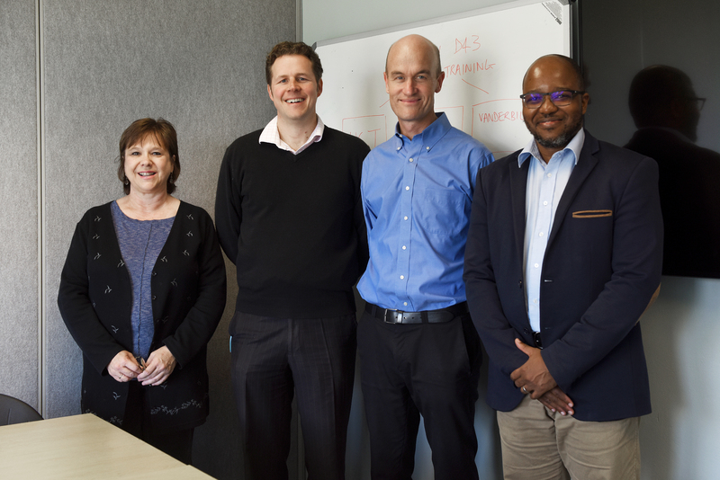 The core administrative team for the Fogarty HIV-TB Training Program at UCT: Kathryn Wood, Jonny Peter, Graeme Meintjes and Sipho Dlamini.