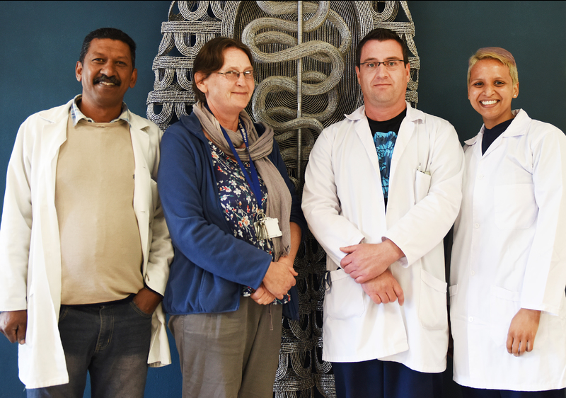 The team that administers and runs the body donor programme and ensures that the labs are prepared and the cadavers maintained in optimal conditions (from left): Deon Abrahams, Caroline Powrie, Michael Cassar and Shirees Benjamin.