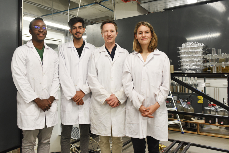 (From left) Tinashe Chipako, Bilaal Kowdur, project leader Dr Dyllon Randall and Suzanne Lambert in the lab. (Absent: Craig Flanagan.)