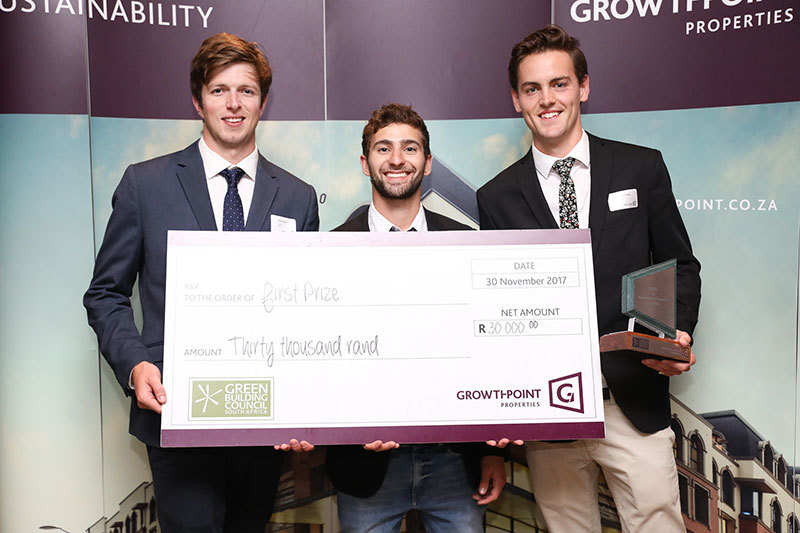 The winners of the 2017 Greenovate Awards: the Department of Construction Economics and Management team of (from left) Nicholas Tennick, Daniel Navarro and Mark McCormick.