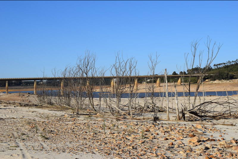 The Theewaterskloof Dam, the largest water supply for the region, at just 13% of total capacity. This photo was taken on 31 May.
