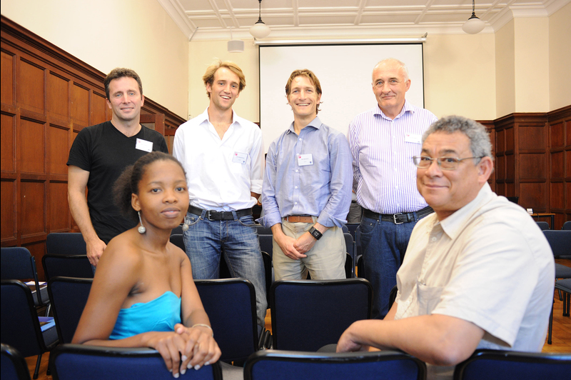 Supporting sustainable development: Ziningi Madonsela's Potter Foundation Fellowship Seminar tackled sustainable development. Pictured at the seminar were (front) Ziningi Madonsela and Tony Brutus, and (back) Andy le May, Luke Metelerkamp, Alan Matthews and Tom McLaughlin.