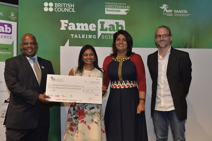 Dr Jabu Nukeri from SAASTA (first left); Dr Sheetal Silall (second from left) Ms Anisa Khan from the British Council (second from right) and Mr Robert Inglis from Jive Media Africa (far right).