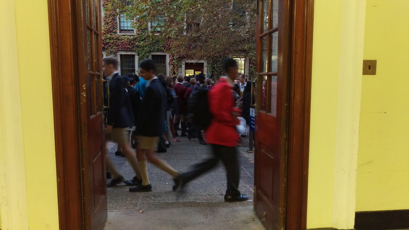 Learners line up outside the maths building on UCT's upper campus to register for the 2017 UCT Mathematics Competition. Long queues like this were commonplace as some 8 700 learners scrambled into 80 venues across campus to put their wits and nerves to the test.