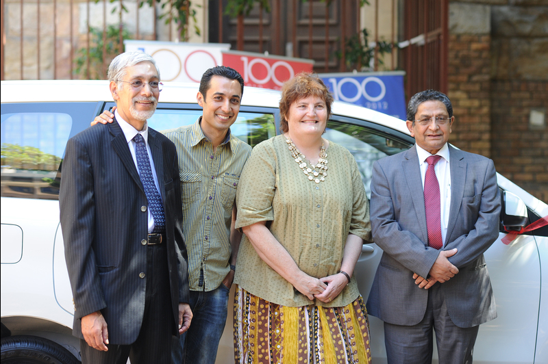 Carpe diem: (from left) Dr Nisaar Moosa (chairman of the board of the Rondebosch Medical Centre), Riaad Moosa, Professor Sue Kidson (Interim Dean of Faculty) and Dr M.I Shreef (director at RMC) pose in front of the four-wheeled star of the show.