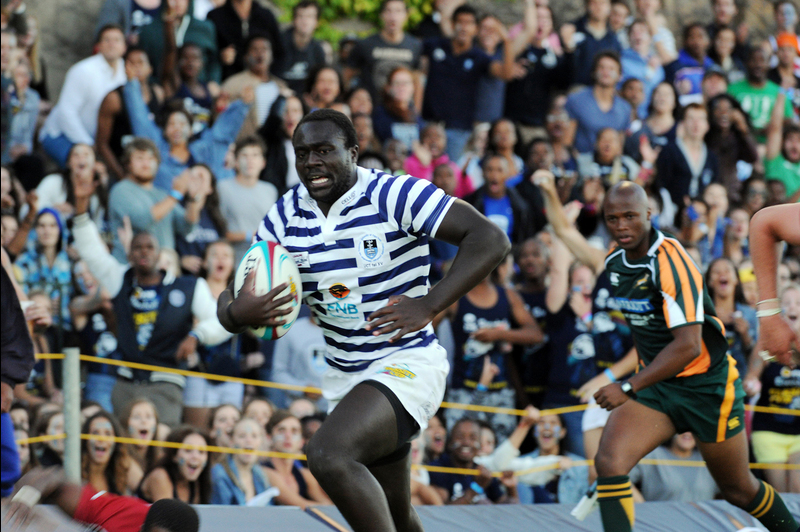 Put foot: Ikey centre David Ambunya gave the home team the lead by touching down in the first half of the FNB Varsity Cup opener. The Ikey Tigers held the Nelson Mandela Metropolitan University's Madibaz to a 5-5 draw.
