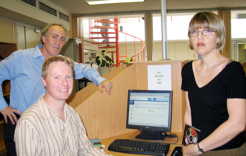 At your service: (From left) Prof Dave Kaplan, Matthew Welch and resource centre manager, Lynn Woolfrey.