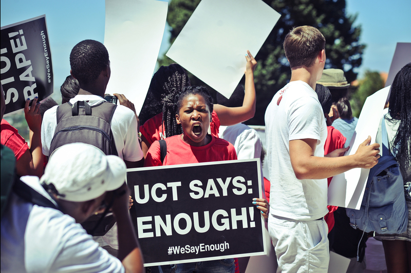 Shout it out: The SRC rallied students across campus to join the protest march against gender violence.