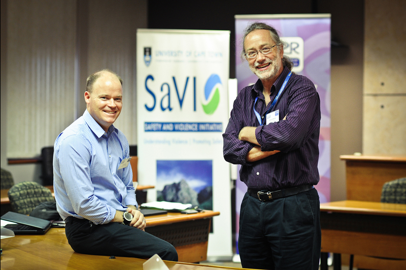 "Twin interests: Prof Jeremy Seekings (right), ""delighted"" that the recent alcohol and violence workshop attracted strong interest from a range of researchers and practitioners. The workshop was hosted by UCT's Safety and Violence Initiative, of which Guy Lamb (left) is director."