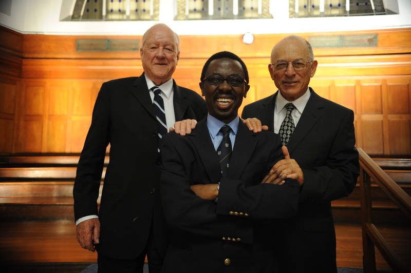 Medicine men: Prof Bongani Mayosi is flanked by his predecessors Prof Stuart Saunders, (left) and Prof Solomon Benatar at the 90th anniversary celebration of his department.