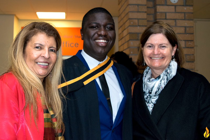 International student and PhD candidate Chanda Chungu has won a Beit Trust Scholarship to study at Oxford. He was photographed after his master's graduation in 2016 with Dean of Law Prof Penny Andrews (left) and former Constitutional Court of South Africa Judge Kate O'Regan