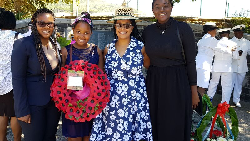Khanyisile Mahlangu (head student), Tsepang Ramokhoabane, Mutamo Ramafekeng (acting assistant warden) and Tafadzwa Chitagu (Green Campus Initiative representative) from Tugwell Hall at the UCT Mendi Memorial.