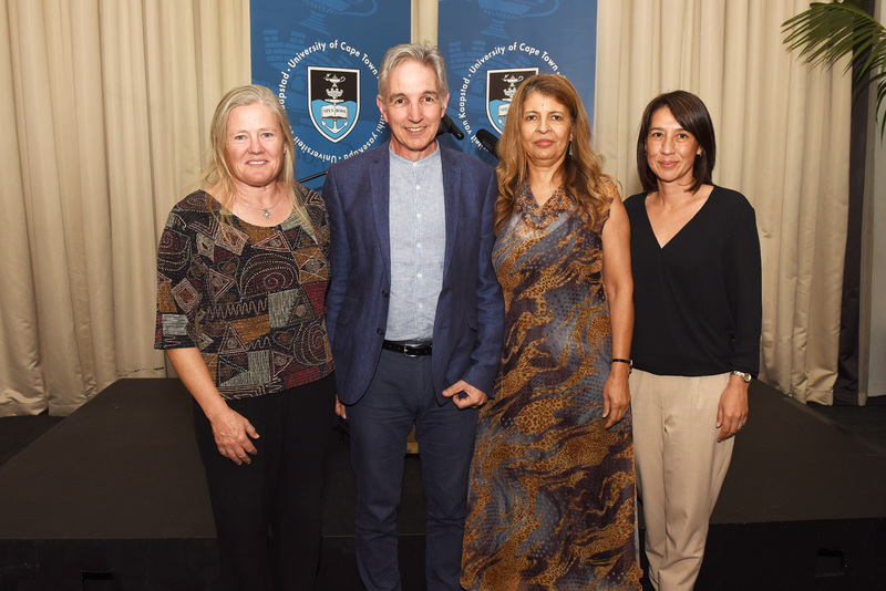 VC Dr Max Price and Dean of Law Prof Penny Andrews celebrate with two of the law faculty's three ad hominem promotees, Assoc Prof Cathleen Powell (left) and Assoc Prof Lee-Ann Tong (right). (Absent: Assoc Prof Jacqueline Yeats.)