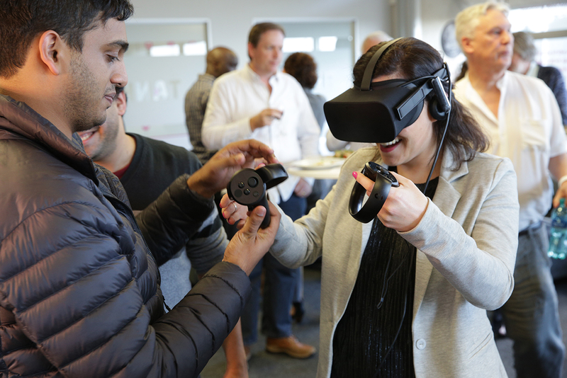 Students getting to grips with a virtual-reality headsets at the launch of UCT's Innovation Lab last year.