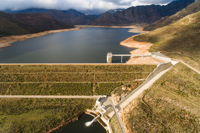 An aerial image of the Berg River Dam, between Franschhoek and Paarl, in June 2016.
