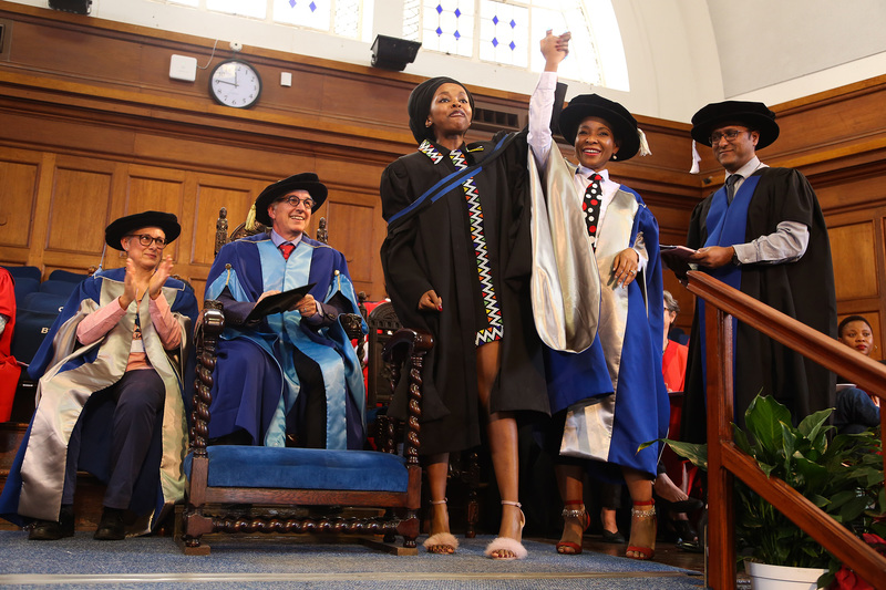 Prof Mamokgethi Phakeng, deputy vice-chancellor for research and internationalisation, celebrates with a student at the Faculty of Humanities graduation ceremony on 6 April. <b>Photo</b>&nbsp;Je&rsquo;nine May.