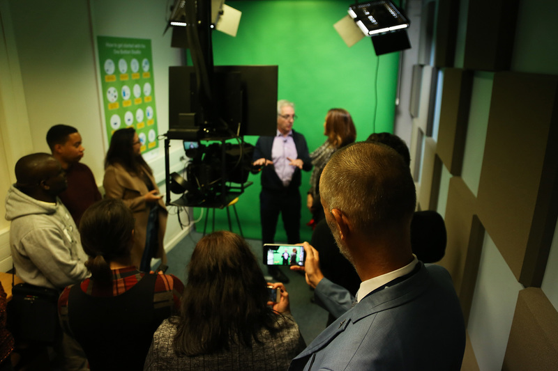 Vice-Chancellor Dr Max Price explores the One Button Studio facilities at the Centre for Innovation in Teaching and Learning (CILT).