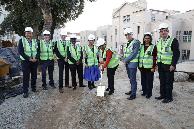 (From left) Dr Keith Cloete, Professor Dan Stein, Professor Graham Fieggen, Professor Bongani Mayosi, Professor Mamokgethi Phakeng, Prof Nomafrench Mbombo, Dr Max Price, Dr Bhavna Patel and Professor Gregory Hussey at the site of the new Neuroscience Centre, situated at Groote Schuur Hospital.