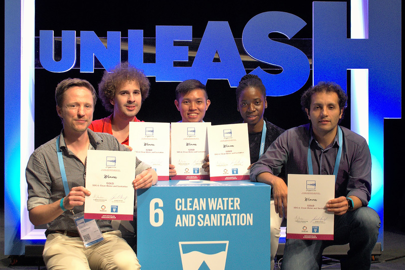 (From left) Dr Dyllon Randall and his group of Diego Guglielmi (Uruguay), Ong Zhi Siong (Singapore), Shima Holder (Barbados) and Diego Quintero Pulido (Colombia) took a first-place award at UNLEASH 2018 for their SaniHive waste recovery toilet hub for urban slums. They also won the Global Scalability Potential award.