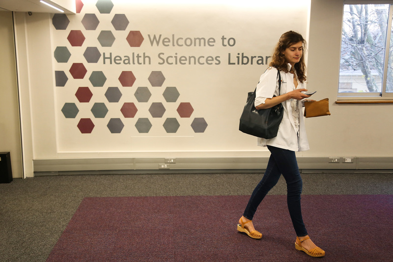 The improved facilities at the Health Sciences Library have medical students studying in style.