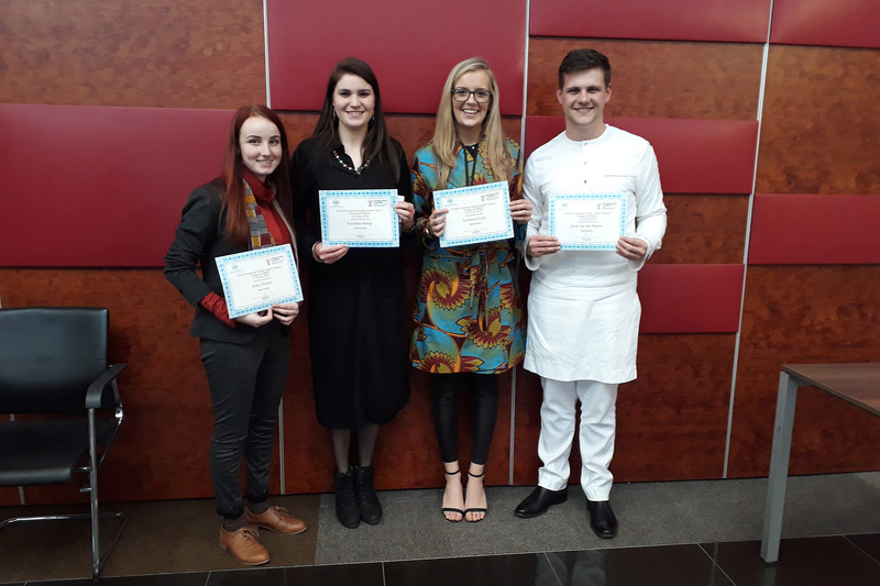 From left: Emily Pender, Courtney Kemp, Savannah Cozzi and Reon van der Merwe, four of the eight UCT delegates at the Model UN conference.