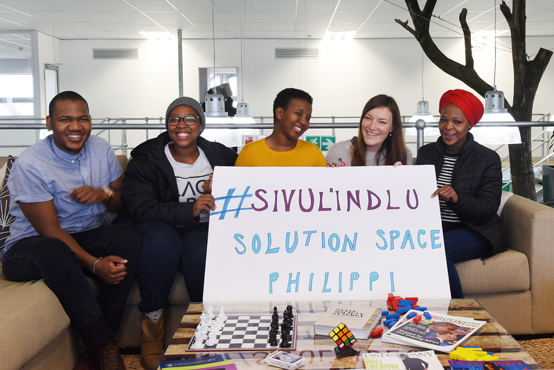 The MTN Solution Space team at Philippi are (from left) Tsepo Ngwenyama, Sivu Nomana, Ndileka Zantsi, Sarah-Anne Arnold and Simnikiwe Xanga.