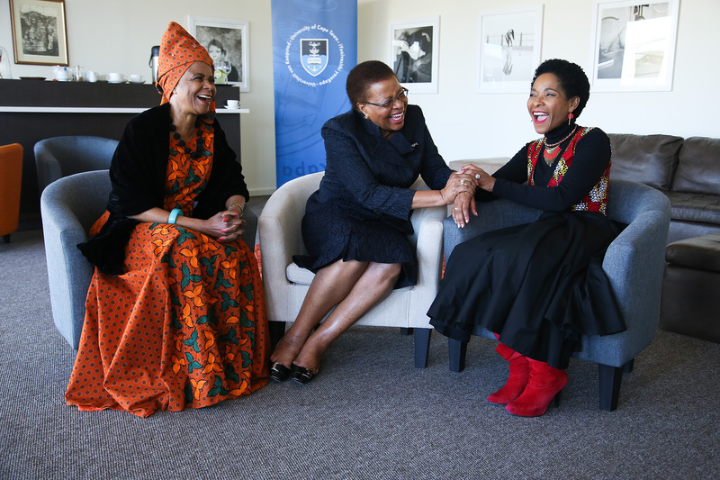 UCT celebrated National Women's Day at an event hosted by Vice-Chancellor Prof Mamokgethi Phakeng (right) at Graça Machel Hall women's residence. Guests of honour were Chancellor Graça Machel (middle) and former VC, Dr Mamphela Ramphele.