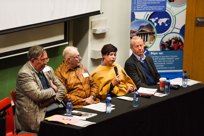 Speakers at the panel discussion that marked the 50th anniversary of the 1968 Bremner occupation included (from left) Prof Adrian Guelke, Prof Keith Gottschalk, DVC Prof Loretta Feris and Martin Plaut. <b>Photo</b> Robyn Walker.
