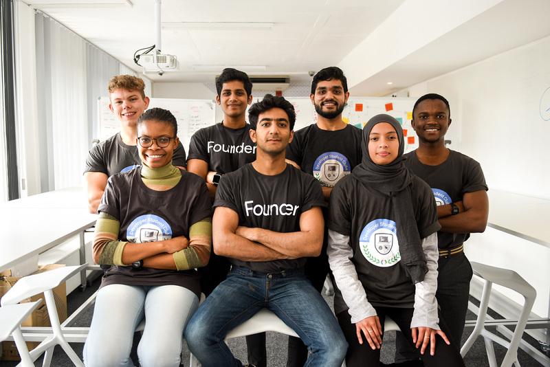 Developer Student Club members (back from left) Jonathon Hart, Akhil Boddu, Harjot Singh, Lebogang Masekoameng, and (front from left) Kgomotso Welcome, Asif Hassam and Bilqis Deaney.