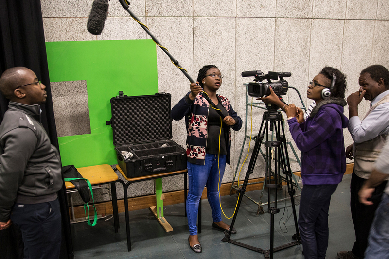 Participants on a previous course hone their film-making skills.