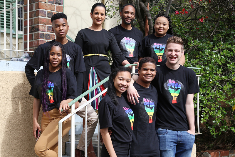 Chair Viwe Tafeni (back, second from right) with the other members of the Rainbow UCT committee, all of whom have worked hard to ensure Rainbow Week is a success.