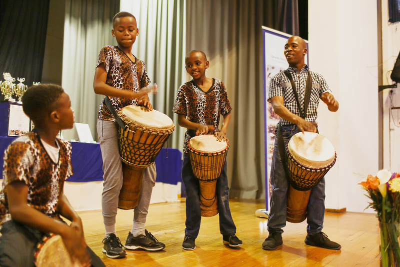 These enthusiastic drummers were among the entertainers at the special event to recognise learners who have worked hard in the Saturday School programme.