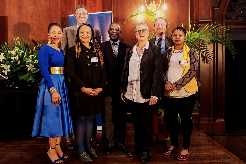 VC Mamokgethi Phakeng (left), Acting Deputy VC for Research and Internationalisation Prof Michael Kyobe (centre) and Deputy VC for Teaching and Learning Assoc Prof Lis Lange (third from right) with College of Fellows Young Researcher award winners (from left) Dr Asanda Benya, Dr Brendan Maughan-Brown, Assoc Prof Alistair Price and Dr Nomusa Makhubu.