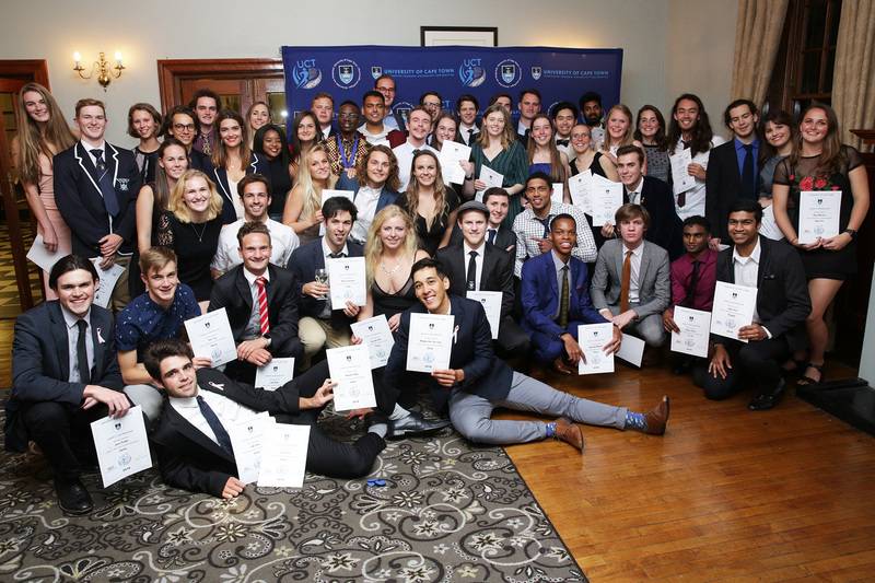 Winners of sporting awards at the annual Sports Awards Dinner celebrate their successes.