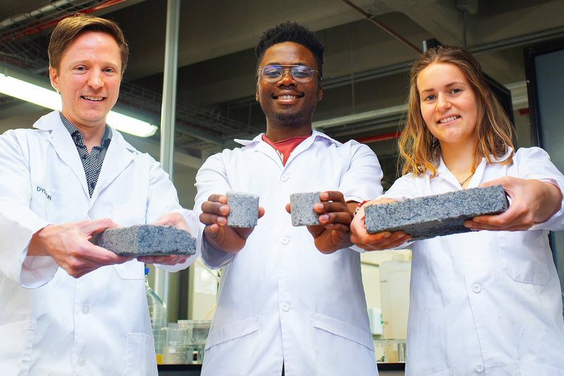 The world's first bio-brick made using human urine was unveiled at UCT this week. In picture are (from left) the Department of Civil Engineering's Dr Dyllon Randall and his students, Vukheta Mukhari and Suzanne Lambert.