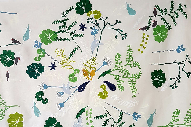 A detail of Thicket Garden, a stencil on linen by David Bellamy, with assistance from Nicola Poselthwaite.