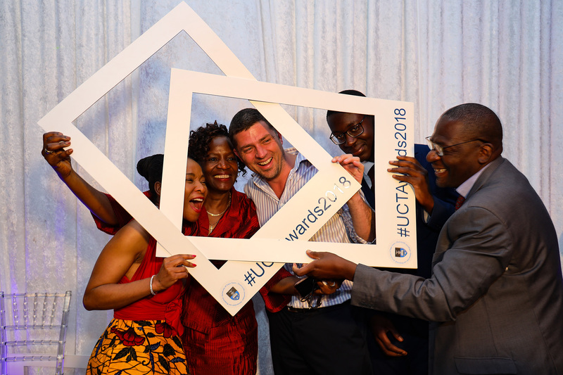 VC Prof Mamokgethi Phakeng (left) proved a popular subject choice for staff keen to make full use of the fun selfie frames at the gala event. <b>Photo</b>&nbsp;Roger Sedres.
