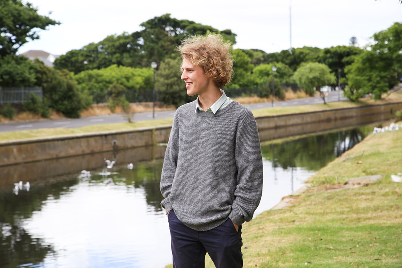 Lead author on the paper Ruan van Mazijk at the Liesbeek River, where he and his fellow students conducted their research. <b>Photo</b> Je'nine May.