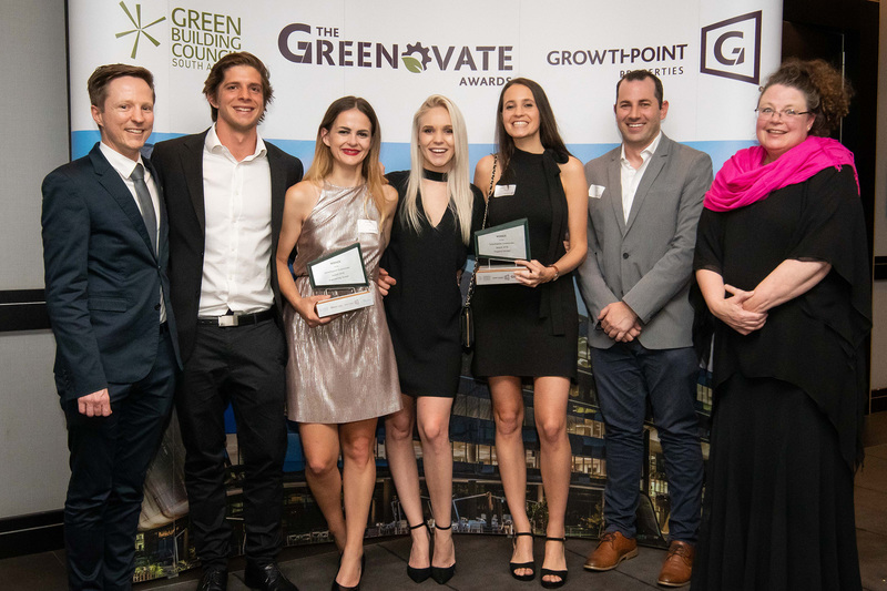Photographed at the Greenovate Awards aere (from left) Dr Dyllon Randall (civil engineering), Michael Inskip (property studies), Chloe Bolton (civil engineering), Morgan Knowles (property studies), Samantha Johnson (property studies), and Saul Nurick and Karen Le Jeune (supervisors, property studies).