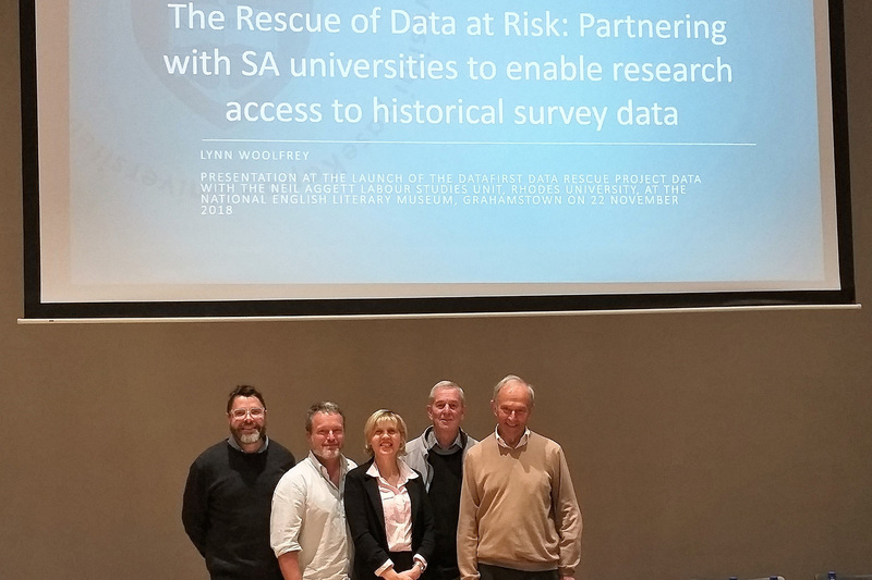 DataFirst manager Lynn Woolfrey with the rescue team (from left) Professor Michael Rogan and Dr John Reynolds, both of the Neil Aggett Labour Studies Unit at Rhodes University, Emeritus Professor Chris de Wet (Department of Anthropology, Rhodes) and Emeritus Professor Francis Wilson, DataFirst founding director.