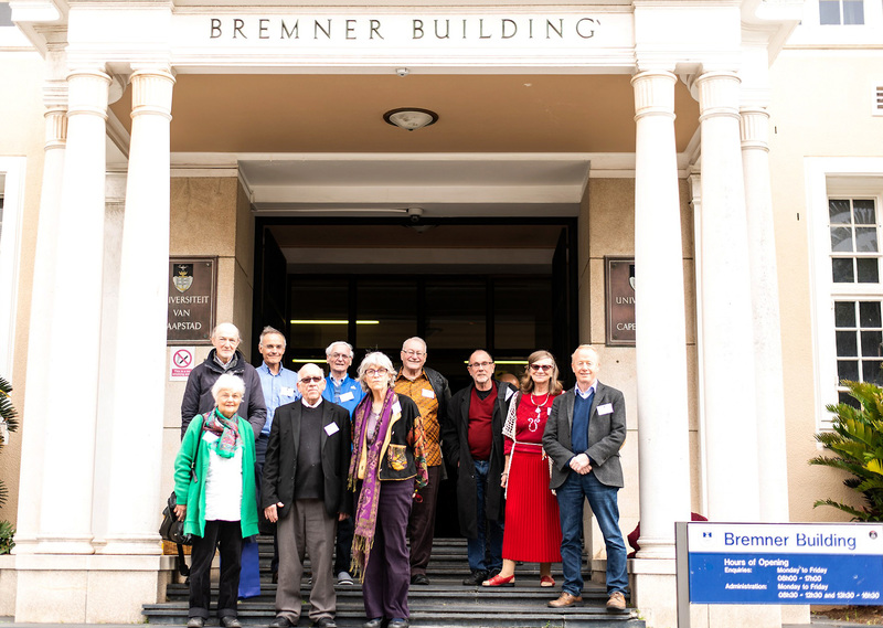 Madi Gray (second from right) with other veterans of the 1968 occupation on a visit to Bremner building during their week-long Golden Jubilee reunion in August this year.